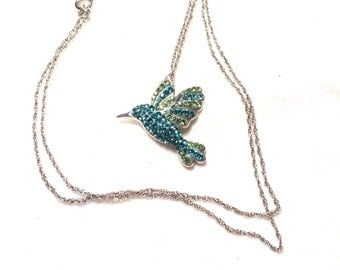 925 Sterling silver hummingbird  necklace with blue and green gem/stone