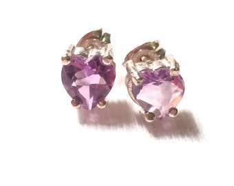925 sterling silver Purple Heart  Amethyst earrings