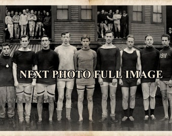 "1910 Yale Varsity Crew Rowing Team 35"" Long - Vintage Reproduction Panoramic Photograph Panorama Shabby beach decor Vintage Photo"