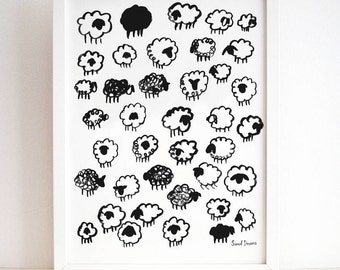 Sweet Dreams Sheep Print