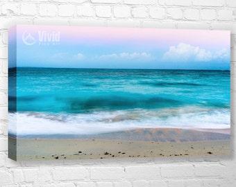 Ocean canvas art print, family room wall, emerald water, 3 feet wide, canvas triptych, sea at dawn, canvas wall panels, ocean wall decor