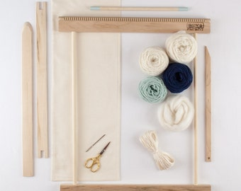"""14"""" Beginners Frame Loom Weaving Kit / Everything you need to make your own woven wall hanging / Moss and Navy"""
