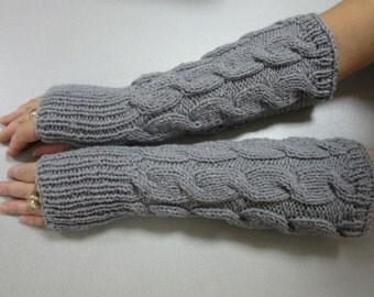 Grey Arm Warmers, Long Arm Warmers, Women's Fingerless Gloves, Winter Accessory, Ready To Ship