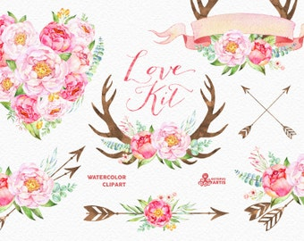 Love Kit. Watercolor flowers Clipart, peonies, arrows, antlers, heart, bouquets, valentines, wedding, floral, card, diy clip art, spring