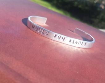 Bioshock inspired hand stamped metal bracelet