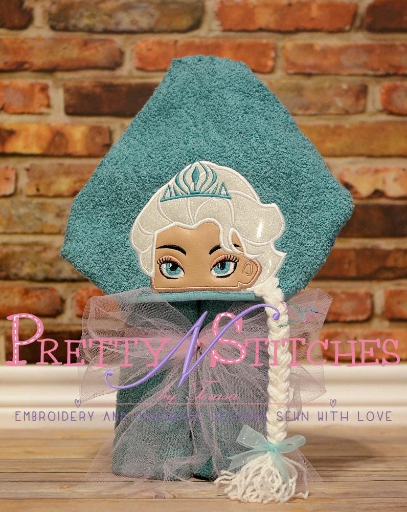 Ice queen peeker applique embroidery design hoop
