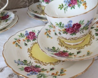 New Chelsea Floral Fine Bone China Trio - English Tea Cup, Saucer and Side Plate - Made in England - Shabby Chic.