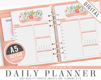 A5 Daily Planner Inserts - ROSA Collection - Fits Kikki K Large, Filofax A5 Printable Pages - Schedule, Meals, To Do - Pink Floral Design