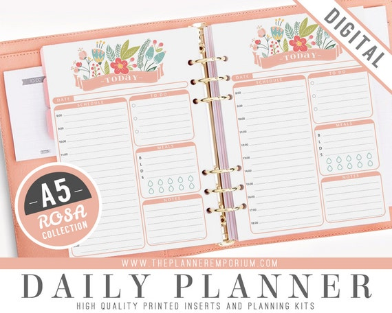 A5 daily planner inserts rosa collection fits kikki k for Daily planner maker