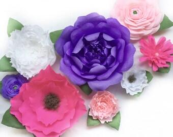 Custom assorted paper flower set-Rose,Ranunculus, Boho Flower, Peony, and Spider Mum Paper Flower Set-Nursery Decor-Floral Nursery-Wall Art