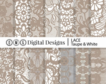 """Taupe Brown and White Lace Digital Paper Pack - Instant Download - Digital Scrapbook Paper 8.5"""" x 11"""" and 12"""" x 12"""""""