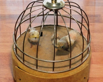 Vintage 1950's Japanese Bird Cage Musical Jewelry Box with Moving Birds     00824