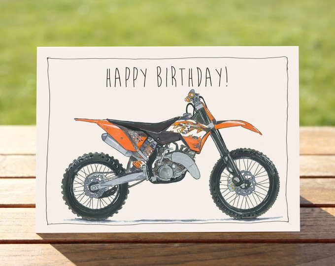 "Motorcycle Birthday Card - KTM 125SX Dirt Bike | A6 - 6"" x 4"" / 103mm x 147mm 