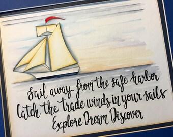 Sailboat nursery decor. Sailing Nursery art. Sailboat wall art. Nautical Nursery decor.