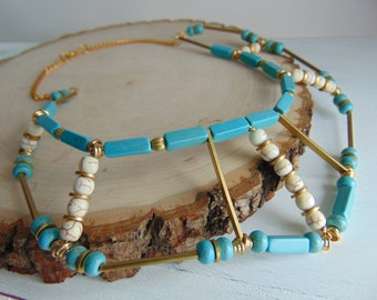 Geometric Necklace/ Turquoise & Gold Choker