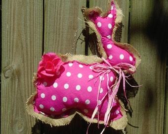 Pink Polka Dot Bunny Door Hanger