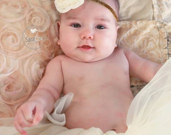 Ivory Chiffon Rose Flower Headband Photo Prop