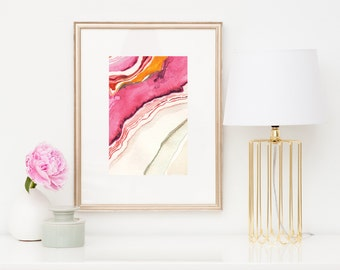 Agate II Abstract Watercolor: Art Print, Agate Art, in Magenta