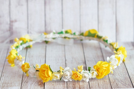 Yellow Boho Crown, Flower Girl Wreath, Flower crown, Flower Girl Halo, Yellow Hair Wreath, Spring halo, Summer crown, Yellow & White halo
