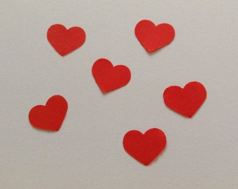 Red heart confetti, wedding confetti, table decor, engagement confetti, small heart, set of 100