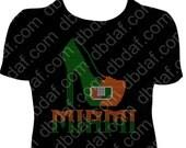 Custom University of Miami Rhinestone Heel