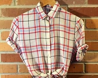 Vintage Sheer Plaid Button Up Blouse