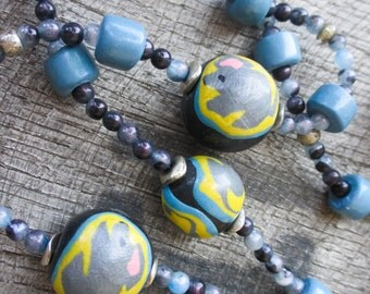 Blue Beaded Mouse and Cheese Necklace