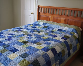 Square Design – LAP or DOUBLE QUILT – Blue and Green