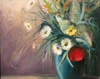 Vase of summer flowers with red poppy