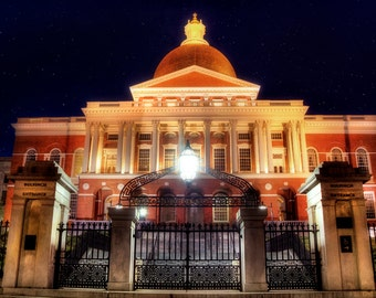 Massachusetts State House, Boston Landmark, Boston Architecture, Boston Cityscape, Boston Prints, Boston Night Scene, Boston Art, Boston Ma