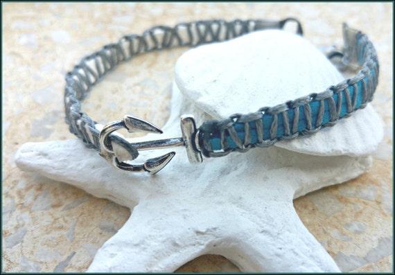 Blue Anchor Anklet, Anchor Ankle Bracelet, Nautical Anklet, Leather Ankle Bracelet, Anchor Foot Cuff, Yoga Anklet, Turquoise Anklet