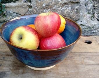 Serving Bowl Blue, Ceramic, Ready to Ship