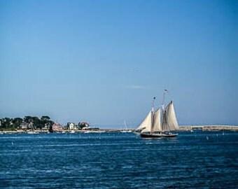 Sailboat Passing Cribstone Bridge - Bailey Island Bridge in Harpswell Maine, Fine Art Print, FREE SHIPPING