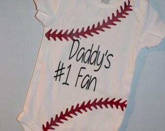 Daddy's #1 Fan Baseball infant bodysuit (short sleeve)
