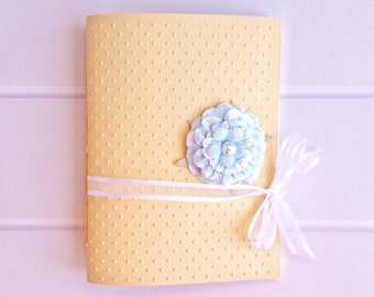 Handbound Yellow Embossed Journal (Unlined) with Blue Floral Embellishment