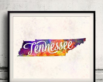 Tennessee - Map in watercolor - Fine Art Print Glicee Poster Decor Home Gift Illustration Wall Art USA Colorful - SKU 1743