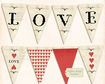 Printable LOVE banner, romantic Love garland