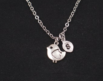 bird necklace, initial necklace, silver bird charm, little bird charm pendant, baby bird necklace,new mom gift,baby shower gift,personalized
