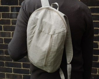 Armadillo Simple Backpack. Rucksack. Natural unbleached linen. Minimalistic, sand, bag, simple, rustic, small