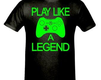 Play like a legend t shirt,men,s t shirt sizes small- 2xl, gift,gaming t shirt