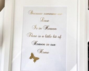 Gold foil print,Foil wall art,memorial frame,picture frame,photo frame,foil word art