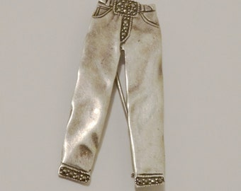 """1970's Sterling 925 Stamped Marcasite 2 1/8""""  L x 1 1/8"""" w Pants Brooch"""