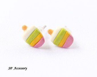 Miniature Ice Cream Earrings, colorful clay stud, earrings clay, clay stud, sweet clay earrings, fancy clay stud