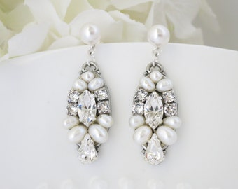 Art Deco post earring,Swarovski pearl and rhinestone bridal earring, Crystal and Freshwater pearl wedding earring