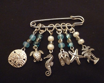 Beach Themed Stitch Markers for Knitting