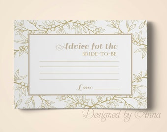 Printable advice for the bride floral advice instant download gold foil bridal shower botanical advice printable advice for bride to be