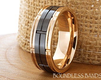 Tungsten Wedding Ring Band Wedding Band Promise Ring Anniversary Ring Black And Rose 8mm Rose Gold Ring Men Tungsten Ring Comfort Fit Band
