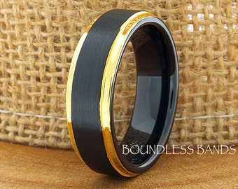 Tungsten Wedding Ring Band Black Yellow Gold Plated Tungsten Ring Anniversary Ring Promise Ring Engagement Band Comfort Fit Free Engraving