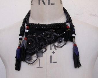 Avant Garde Necklace, Marine Necklace, Ethnic Necklace, Bib Necklace, Leather Necklace, Beaded Necklace, Black Jewelry, Boho Necklace