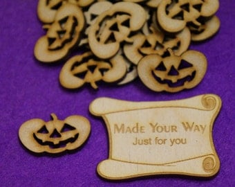 MDF Halloween Pumpkin Jack-o-lantern 3cm, 4cm x 3mm Craft Embellishment MDF Laser cut wooden shape